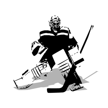 Ice hockey goalie, abstract vector illustration Çizim