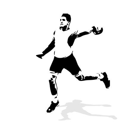 Handball player abstract vector illustration. Team sport handball, vector isolated silhouette of shooting handball player Illustration