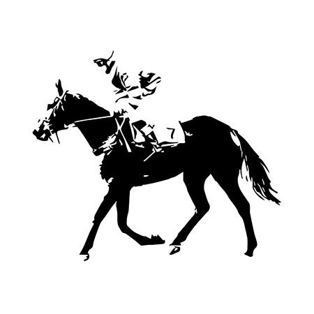 sports symbols metaphors: Horse racing, jockey, vector drawing, abstract vector illustration