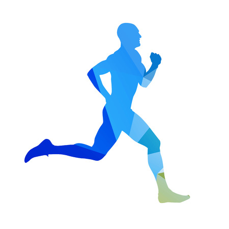 decathlon: Abstract blue running man. Runner vector silhouette. Profile, side view