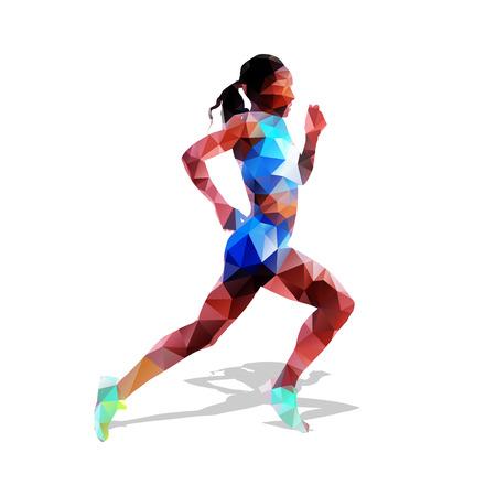 Run, running woman, geometrical vector silhouette. Summer sport. Polygonal runner