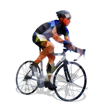 Cycling. Abstract geometrical vector road cyclist on his bike. Abstract polygonal cyclist