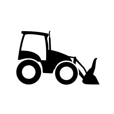 Front loader icon, pictogram. Excavator vector silhouette, side view Illustration
