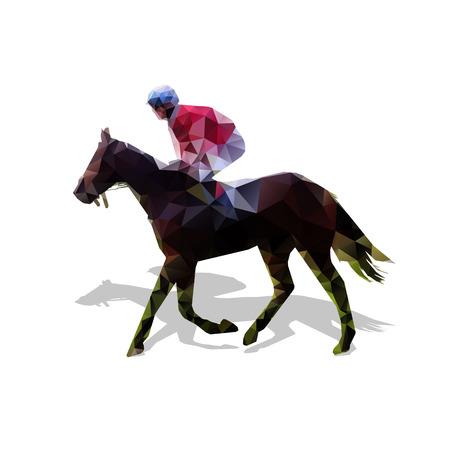 말 레이싱, 추상적 인 벡터 형상 실루엣입니다. 말과 기수