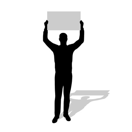 protester: Man stands with sign above his head, vector silhouette protester man