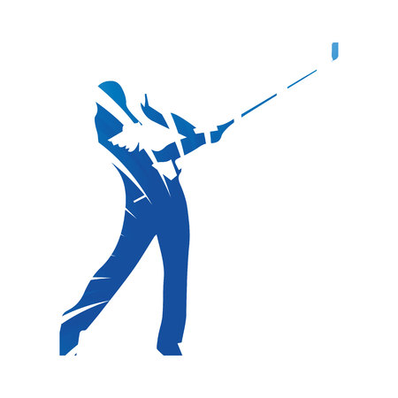 golf player: Golf player, golf swing, abstract blue vector silhouette Illustration