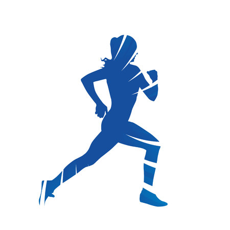 woman side view: Running woman, side view, abstract blue vector silhouette Illustration