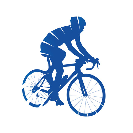 view abstract: Cycling. Road cyclist, side view, abstract blue vector silhouette