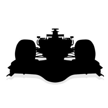 formula car: Formula car silhouette, front view Illustration