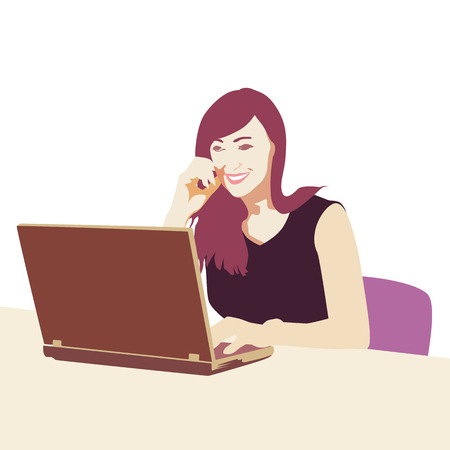 woman laptop: Businesswoman sitting in office at desk and typing on laptop. illustration, flat design