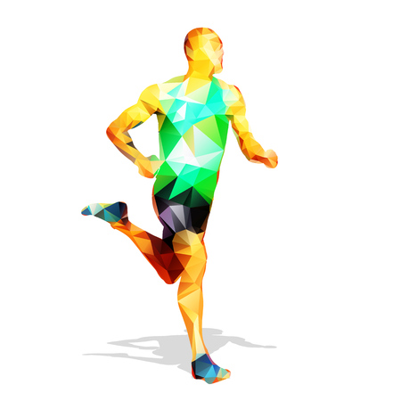 Abstract geometrical runner silhouette. Polygonal running man