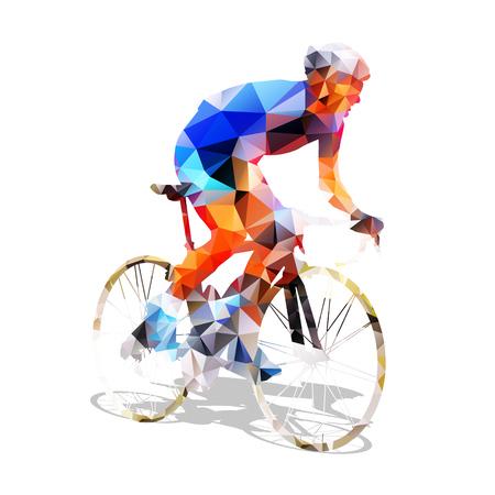 silueta ciclista: Ciclismo. Resumen ciclista de ruta geométrica en su bicicleta. Resumen ciclista poligonal