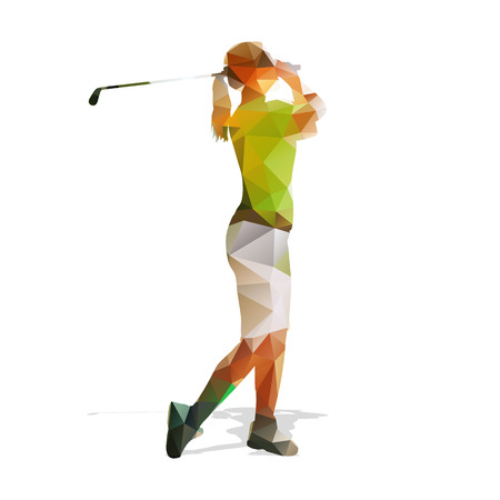 swinging: Abstract geometric golf player. Polygonal golfer silhouette. Woman playing golf