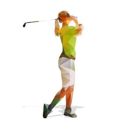 golfer swinging: Abstract geometric golf player. Polygonal golfer silhouette. Woman playing golf