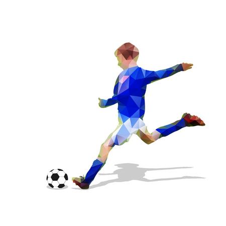 Abstract soccer player. Kicking ball. Polygonal soccer player, geometric blue football player silhouette