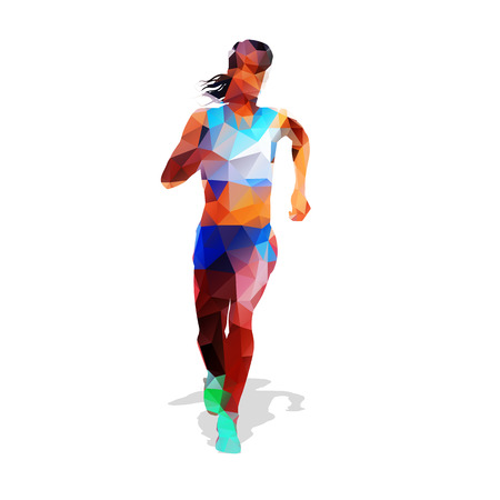 active girl: Running woman. Active girl. Abstract illustration. Front view. Modern geometric design
