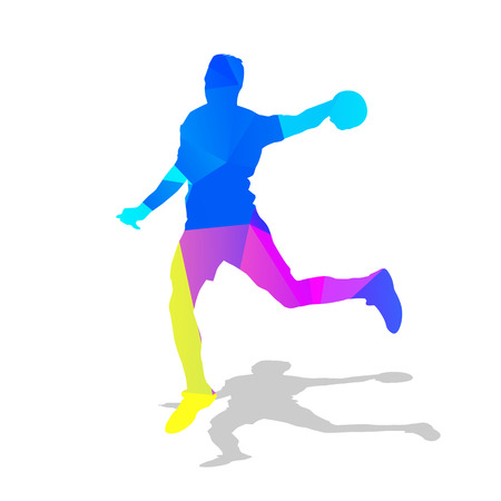 ball point: Handball player. Abstract geometric athlete with ball in hand. Team sport