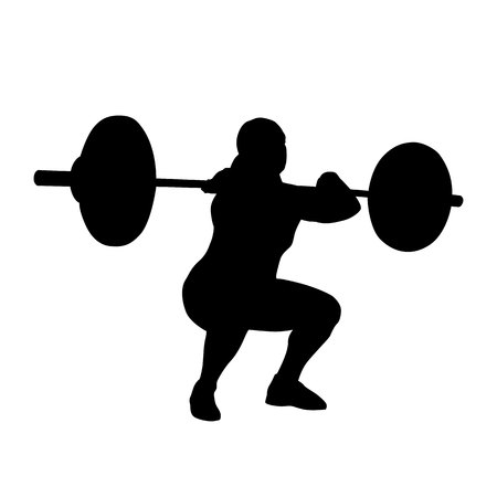 Woman practicing with barbell. Weight-lifting. Bodybuilding. isolated silhouette