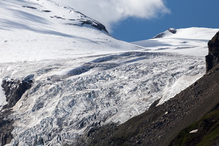 hochalpenstrasse: Pasterze glacier. Grossglockner hochalpenstrasse in Austria