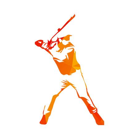 batting: Abstract orange baseball player Illustration