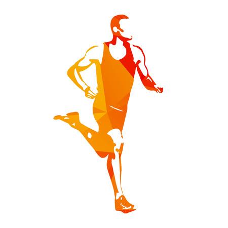 Estratto corridore arancione vettoriale. uomo che corre, illustrazione vettoriale isolato. Sport, atleta, correre, decathlon