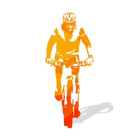 cycling mountain: Cycling. Mountain biker, abstract orange cyclist