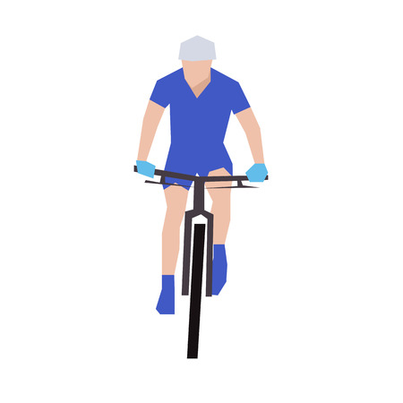 mountain view: Mountain biking, flat illustration. Front view. Cyclist in blue jersey