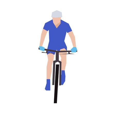 Mountainbiken, flat illustratie. Vooraanzicht. Fietser in blauwe trui Stock Illustratie