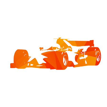 Abstract orange formula racing car. Isolated silhouette. Illustration