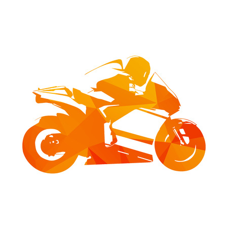 motorcycling: Motorcycling. Motorcycle road racing, abstract orange illustration. Motorbike