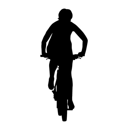 bicyclist: Cyclist woman on mountain bike. Isolated silhouette. Front view. Recreational cycling
