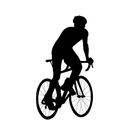 Cyclist riding out of saddle rises. Isolated silhouette