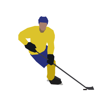 ice hockey player: Ice hockey player, isolated flat illustration