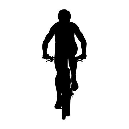 Mountain biker silhouette. Cycling, summer sport Illustration