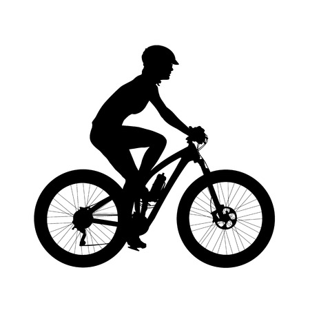 Cyclist on a mountain bike. Isolated silhouette. Profile, side view. Recreational cycling