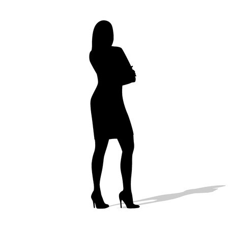 succesful: Standing business woman with folded arms. Isolated  silhouette. Teacher, manager, lawyer, financial advisor, succesful woman at work. Full body Illustration