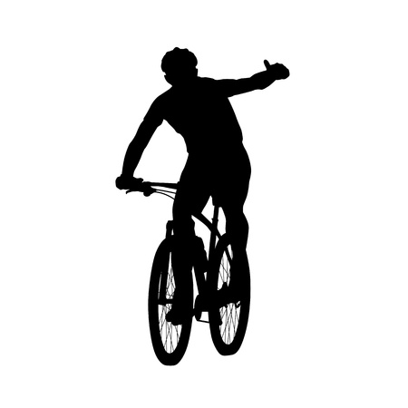 Mountain biker showing thumbs up. Cycling, silhouette, front view. Summer sport Vectores