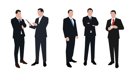 corporate people: Businessman character set in various poses. Flat illustrations. Group of business people.