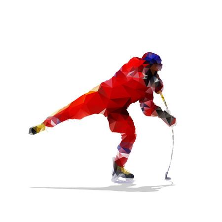 ice hockey player: Ice hockey player, abstract geometric silhouette. Red jersey. Shooting hockey forward