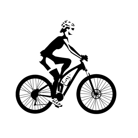 mountain view: Cycling woman, isolated illustration. Abstract silhouette. Girl on mountain bike