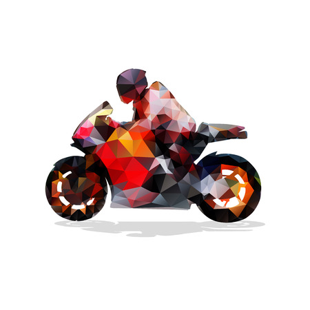 Motorbike, abstract geometric silhouette. Motorcycle rider on road bike
