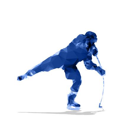 ice hockey player: Ice hockey player, abstract geometric silhouette. Shooting hockey forward