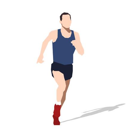 man abstract: Running man, flat illustration. Sports man. Abstract runner