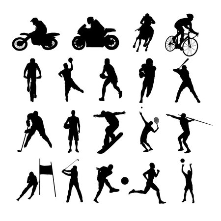 individual sports: Sport silhouettes. Set of silhouettes of athletes from various sports. Active people