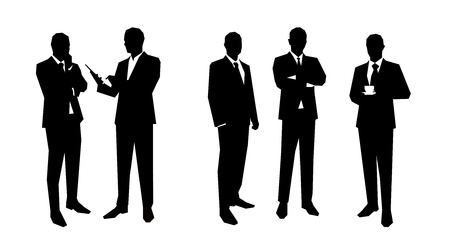 Business men silhouettes set in various poses. Flat vector illustrations. Group of business people. Lawyer, teacher, sales manager, boss, politician, broker