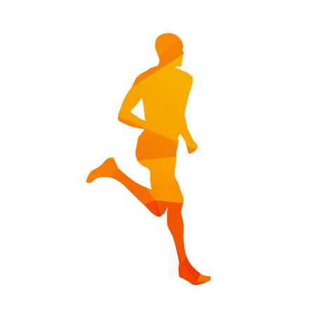 man abstract: Polygonal running man, abstract isolated vector runner