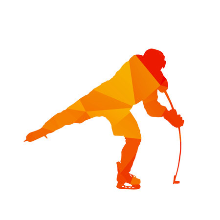ice hockey player: Polygonal ice hockey player, abstract orange isolated vector silhouette