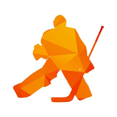 Polygonal ice hockey goalie, abstract orange isolated vector silhouette