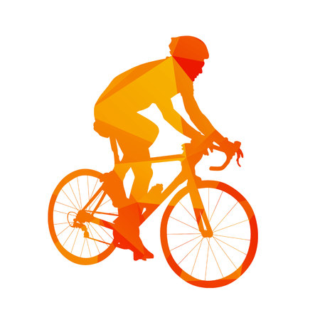 Polygonal road cyclist, abstract orange isolated vector silhouette