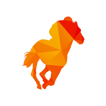 Horse racing, abstract polygonal orange silhouette